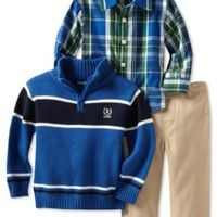 IZOD Kids Baby Boys' Stripe 1/4 Zip Sweater With Plaid Woven Shirt and Pant, Medium Blue, 12 Months