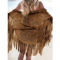 Women Casual Tippet Faux Suede Leather Cut Out Summer Beach Cover Up Kimono Long Fringes Tassels Thin Coat Cardigan Jacket C146