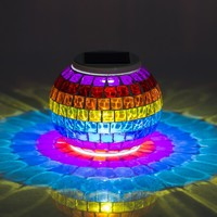 New Arrival Solar Powered Mosaic Glass Color Changing Rainbow LED Light , Rechargeable/ Waterproof Night Light for Indoor or Outdoor Decorations, A Great Gift for Any Festival.(Rainbow)