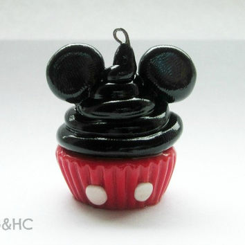 Mickey Mouse Cupcake Clay Charm - Handcrafted Polymer Clay Charm - Disney Inspired Jewelry - Character Cupcake