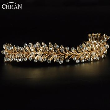 Chran Handmade Gold Color Leaf Wedding Tiara Crown Silver Color Crystal Hair Combs Hairpin Bridal Jewelry Accessories CRH601