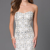 Short Sequin Strapless Homecoming Dress