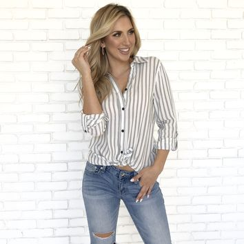 Office Stripe Button Up Blouse