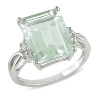 Sterling Silver Green Amethyst, and White Topaz Ring
