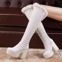Zip Patchwork Short Plush Square Chunky Heel Platform Black Furry Slip Resistant Women Boots Fashion Winter 2015 White Warmth