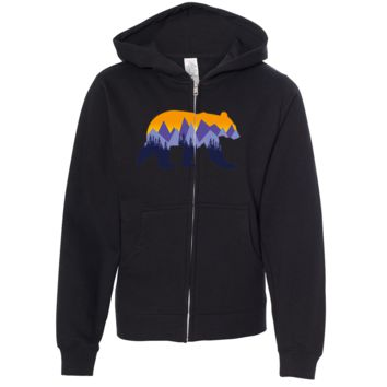 California Mountain Sunset Bear Premium Youth Zip-Up Hoodie