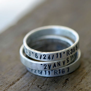 Personalized silver stamped stacking rings set of 3
