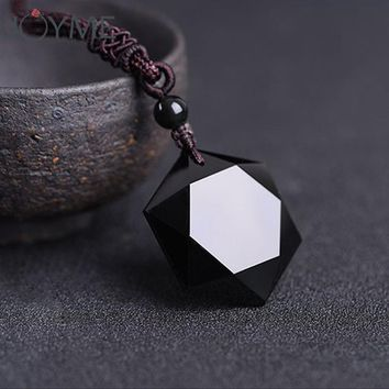 Dropshipping Black Obsidian Hexagram Necklace Obsidian Star of RongDe Pendant Lucky Love Natural Stone Women Men Couple Necklace