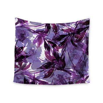 "Ebi Emporium ""Floral Fiesta - Purple Multi"" Lavender Watercolor Wall Tapestry"