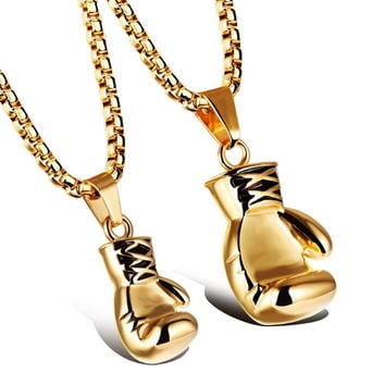 Gold Boxing Glove Necklace