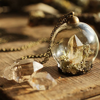 Diamond in the rough necklace , miniature terrarium pendant, Herkimer diamond , raw crystal jewellery , druzy stone , clear quartz
