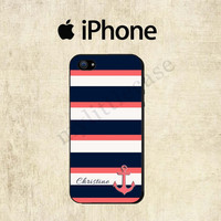 Navy Coral Stripe iPhone Case  iPhone 5 Case  by mylittlecase