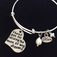 Thank you for Raising the Man of My Dreams Mother In Law Charm Bracelet Adjustable Expandable Silver Wire Bangle Meaningful Wedding Gift