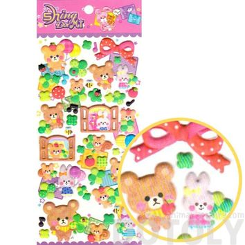 Teddy Bear Bunny Rabbit and Squirrels Shaped Puffy Stickers for Scrapbooking