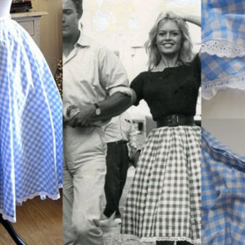 Vintage French 'Brigitte Bardot' Skirt  Very Full in Cotton