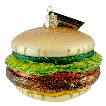 Old World Christmas CHEESEBURGER Glass Ornament Fast Food Beef Burger 32065