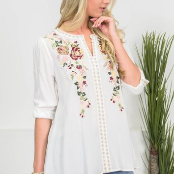 Peasant Floral Embroidery Top