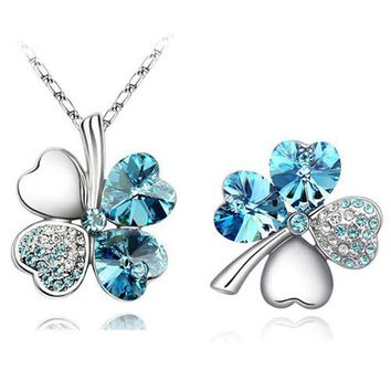 free shipping promotion GP austrian Crystal Clover 4 leaves leaf charm Pendant fashion Necklace Brooch fashion jewelry Sets