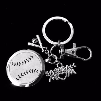 Baseball Mom FOB Aromatherapy Key Chain Baseball Bat Silver Key Ring Gift Lobster Claw Closure Essential Oil Diffuser Locket