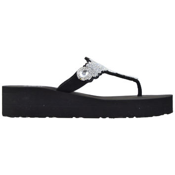 Womens Platform Flip Flop Wedges Black