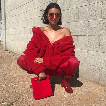 Oversized Teddy Coat | Red