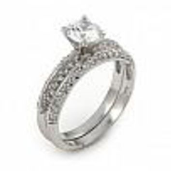 .925 Sterling Silver Nickel Free Pave Cubic Zirconia Wedding Set Ring