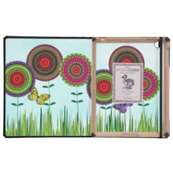 Whimsical Summer Flowers and Butterfly iPad Cover