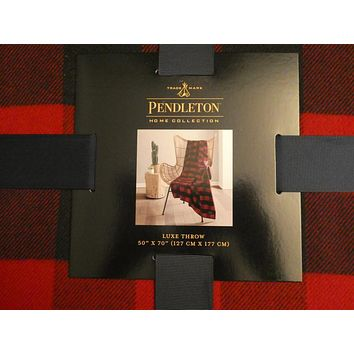 Pendleton Home Collection Rob Roy Luxe Red/Black Throw Blanket 50 X 70 New
