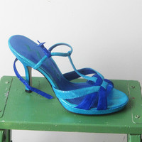 Nina Bright Blue Strappy Heels