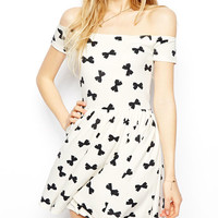 White Bowknot Print Off-shoulder Skater Dress