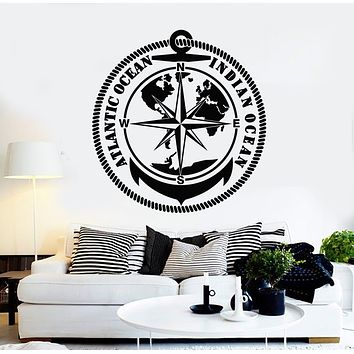 Vinyl Wall Decal Indian Atlantic Ocean Travel Adventure Compass Stickers Mural (g751)