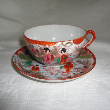 Vintage Oriental Geisha Ladies Scene Tea Cup And Saucer Set Eggshell Porcelain
