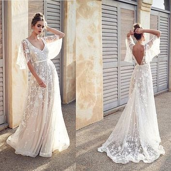 Sexy Elegant White Lace Maxi Long Dress for Wedding Party for Woman Backless Vestidos De Fiesta Party Dress Floral Ruffle Sleeve