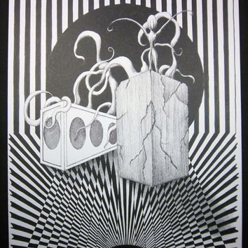 TADA!: Original art,  11x14 pen and ink drawing, surreal black and white heavily patterned
