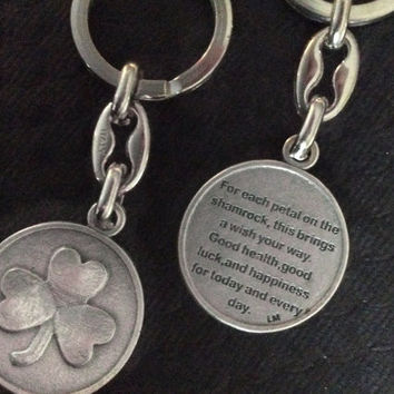 Irish Blessing Key Chain Medal Silver Key Ring Protection Gift Inspirational Jewelry