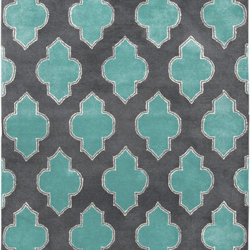 Turquoise and Grey Quatrefoil Rug