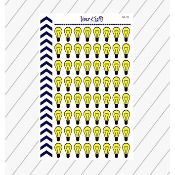 Lightbulb Stickers For Planner, Bright Idea Lightbulb Stickers,  Lightbulb Clip Art, Energy Bill Due Stickers, Electric Bill Stickers. SQ-35