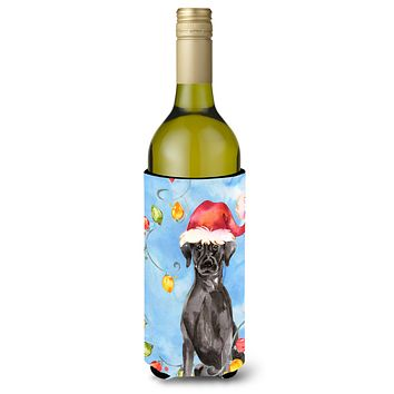 Christmas Lights Black Labrador Retriever Wine Bottle Beverage Insulator Hugger CK2505LITERK