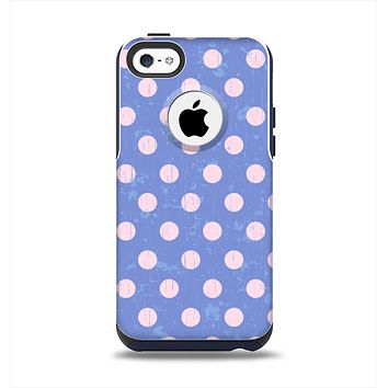 The Vintage Scratched Pink & Purple Polka Dots Apple iPhone 5c Otterbox Commuter Case Skin Set