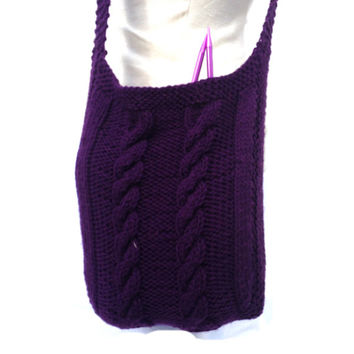 Crossbody Bag Knitted Shoulder Bag crochet finish, Extra Long Strap Knit tote bag