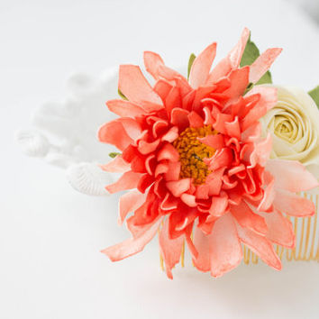 Bridal hairstyles, Art Floral Hair Comb, bridal comb, Prom hair comb, Flowers comb