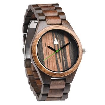 All Wood Watch // Ebony + Walnut 37 Green