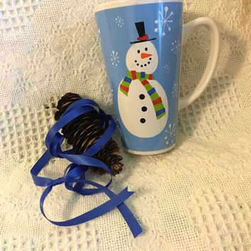 Snowman Mug Vintage Christmas Large Cup With Snowman Wearing Red Green Blue Scarf Black Hat on Blue Background With White Snowflakes Winter