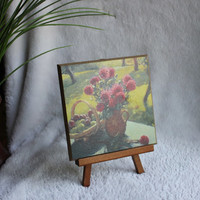 Still Life Wood Plaque on Mini Easel Stand, Flowers & Fruit Vintage Transfer Art