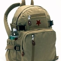 Rothco Khaki Vintage Star Back Pack with Red Star 9162