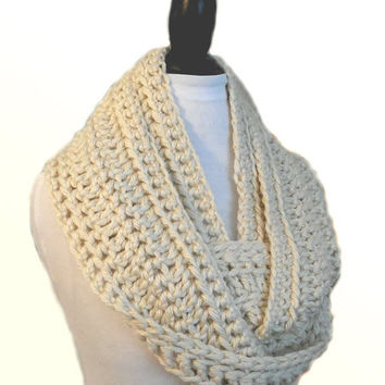 INFINITY Scarf Cowl Extra Long Cream Knit Chunky Infiniti Scarf Hand Made Crochet Light Cream Winter White Circle Scarf Gift Idea