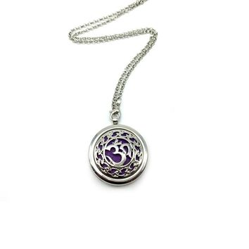 10pcs Aum Om Aromatherapy Necklace Diffuser Pendant  Floating Charm For Memory Lockets Jewelry Women Gift Find Your Peace BXG-05 Silver