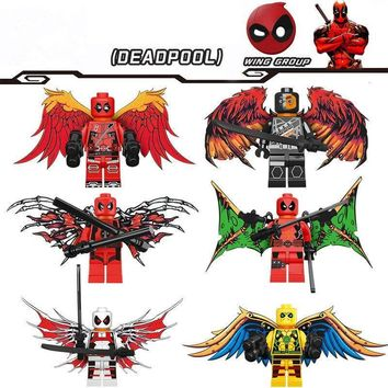 6pcs/set Legoings Super Hero Deadpool With Wings Building Blocks Kit Toys Gifts
