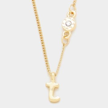 'T' Small Letter Monogram Pendant Necklace With Crystal