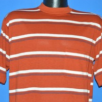 70s Evolution Striped Skateboard Pocket t-shirt Large